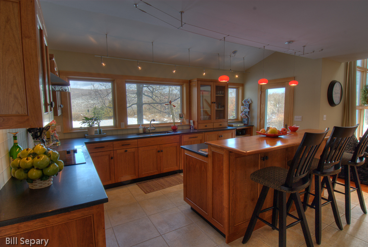 Granite counters & Tech track lighting