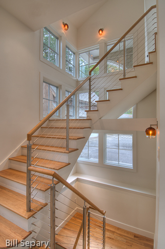 White oak stair with stainless cable rails